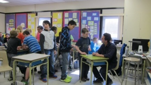 Signing books at Frank J. Mitchell Elementary School (in Sparwood, BC).
